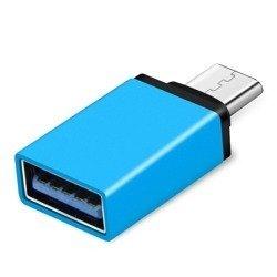 Adapter OTG USB - typ C - USB 3.0 - niebieski