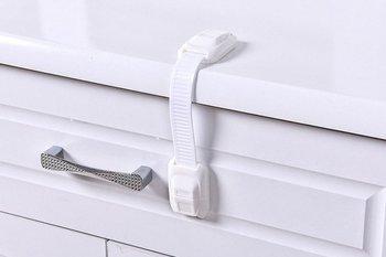 Blokada do szuflady szafki lodówki - biała - zabezpieczenie przed otwarciem