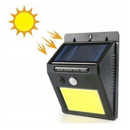 Lampka solarna 48 LED COB - lampa z czujnikiem zmierzchu i ruchu