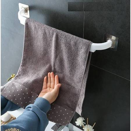 Wieszak na ręcznik łazienkowy kuchenny - biały - uchwyt samoprzylepny
