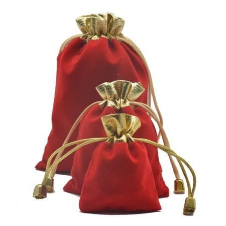 Woreczek zamszowy - czerwony 7x9cm - Sakiewka na biżuterię prezenty