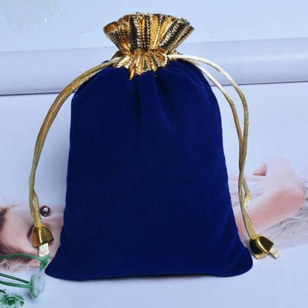 Woreczek zamszowy - niebieski 12x15cm - Sakiewka na biżuterię prezenty